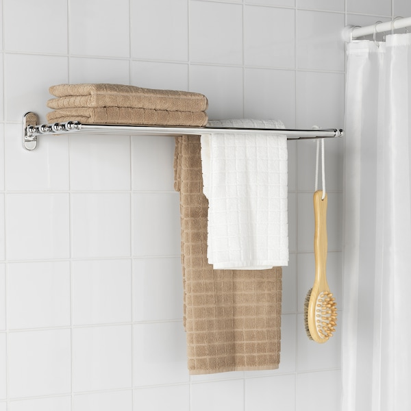 VOXNAN Para dinding dgn ampaian tuala, kesan krom, 68x28 cm