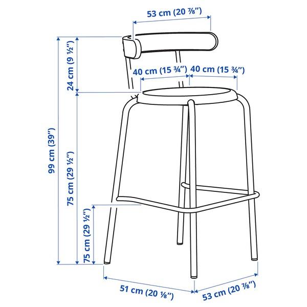 YNGVAR Bangku bar, antrasit, 75 cm