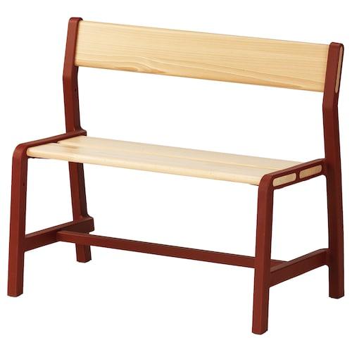 YPPERLIG bangku kanak-kanak kayu bic/merah gelap 65 cm 35 cm 56 cm