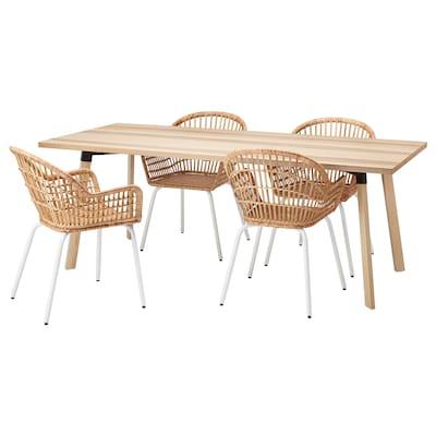 YPPERLIG / NILSOVE Meja dan 4 kerusi, ash/rotan putih, 200x90 cm