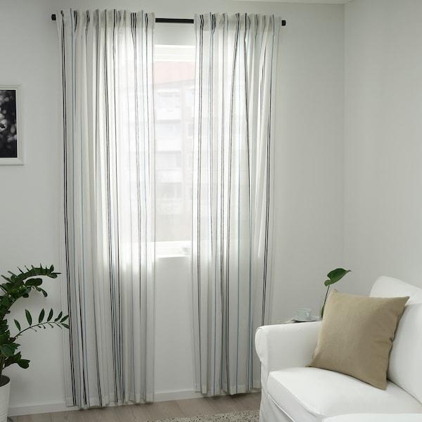 ÄDELSPINNARE curtains, 1 pair white/striped 300 cm 145 cm 1.40 kg 4.35 m² 2 pack
