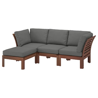 ÄPPLARÖ 3-seat modular sofa, outdoor with footstool brown stained/Frösön/Duvholmen dark grey 80 cm 84 cm 223 cm 143 cm 49 cm 40 cm