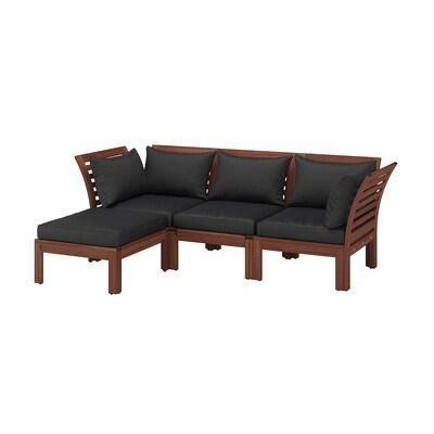 ÄPPLARÖ 3-seat modular sofa, outdoor with footstool brown stained/Hållö black 80 cm 78 cm 223 cm 143 cm 45 cm 36 cm