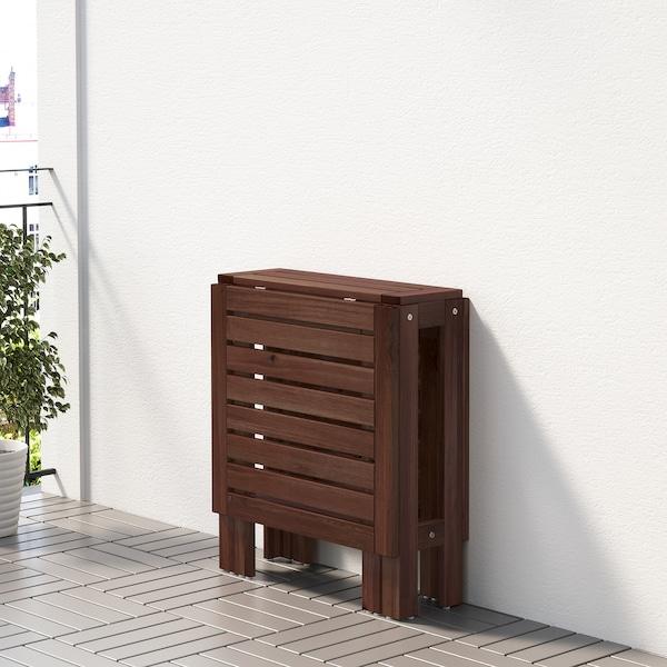 ÄPPLARÖ gateleg table, outdoor brown stained 77 cm 20 cm 133 cm 62 cm 71 cm