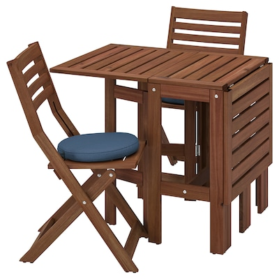 ÄPPLARÖ table+2 folding chairs, outdoor brown stained/Frösön/Duvholmen blue