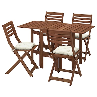 ÄPPLARÖ table+4 folding chairs, outdoor brown stained/Kuddarna beige