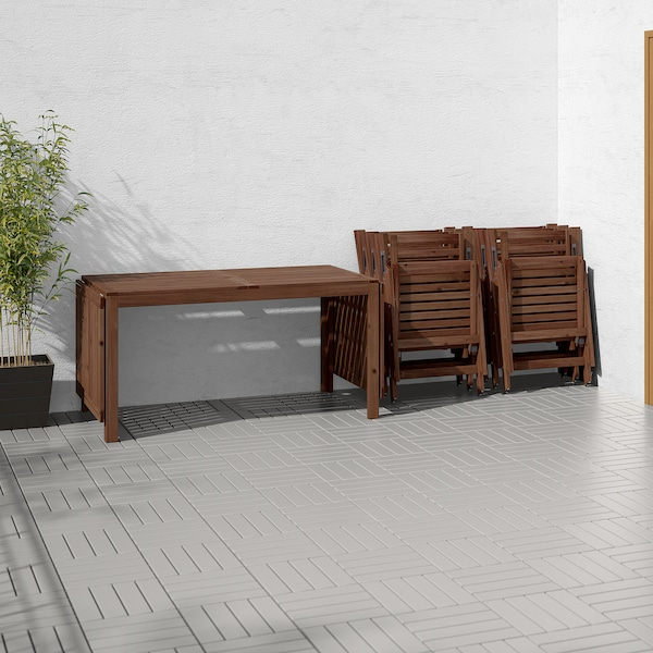 ÄPPLARÖ table+8 reclining chairs, outdoor brown stained/Frösön/Duvholmen dark grey