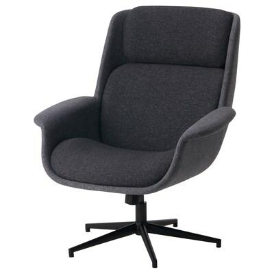 ÄLEBY Swivel armchair, Gunnared medium grey/dark grey