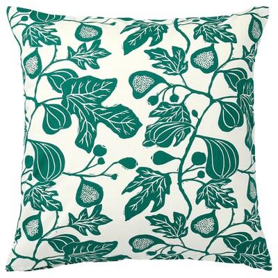 ALPKLÖVER Cushion cover, natural/dark green, 50x50 cm