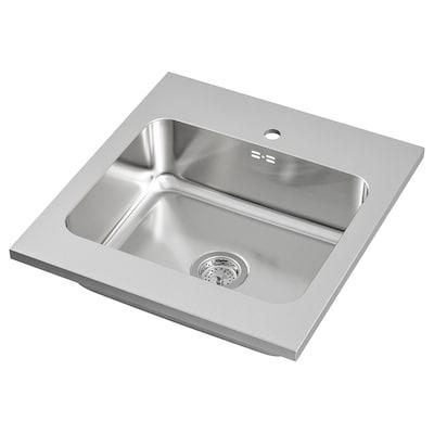 AMMERÅN onset sink, 1 bowl stainless steel 18 cm 50 cm 40 cm 63.5 cm 60 cm 63.5 cm 60 cm 63.5 cm 28.0 l