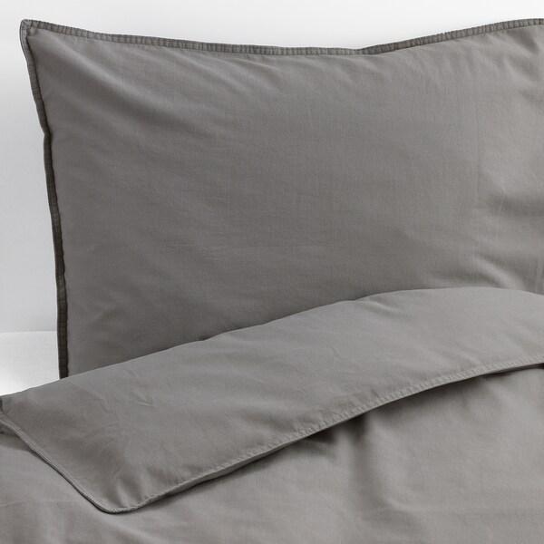 ÄNGSLILJA Quilt cover and 2 pillowcases, grey, 200x200/60x70 cm