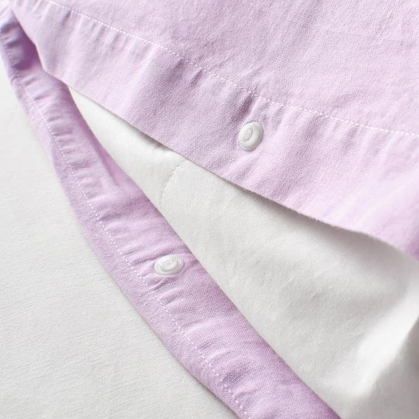 ÄNGSLILJA Quilt cover and 2 pillowcases, light lilac, 200x200/60x70 cm