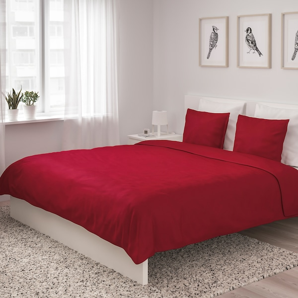 ÄNGSLILJA Quilt cover and 2 pillowcases, red, 200x200/60x70 cm