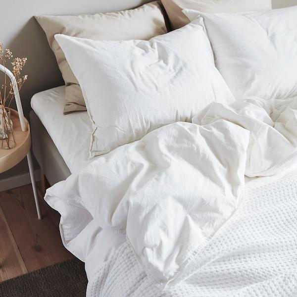 ÄNGSLILJA Quilt cover and 2 pillowcases, white, 200x200/60x70 cm