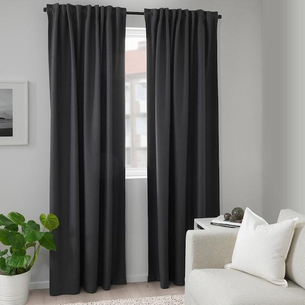 ANNAKAJSA Room darkening curtains, 14 pair, grey, 1445x14 cm - IKEA