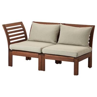 ÄPPLARÖ 2-seat modular sofa, outdoor, brown/Hållö beige, 143x80x73 cm