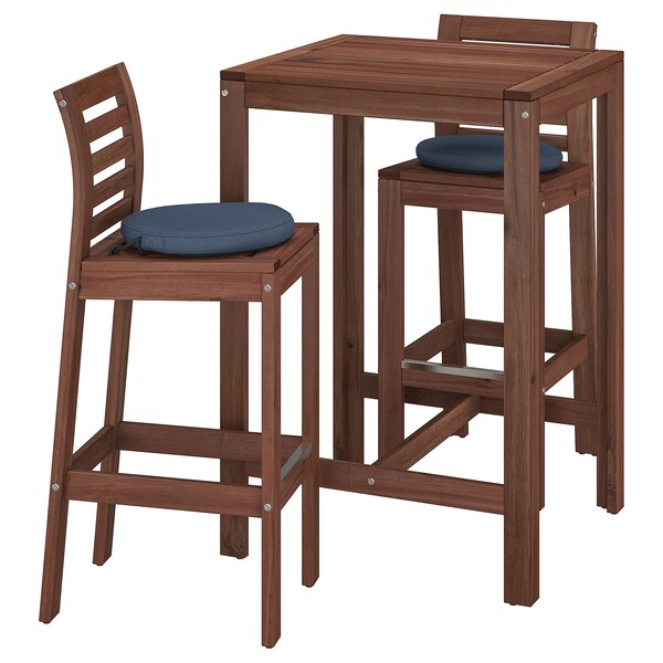 Applaro Bar Table And 2 Bar Stools Outdoor Brown Stained Froson Duvholmen Blue Ikea