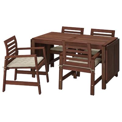 ÄPPLARÖ Table+4 chairs w armrests, outdoor, brown stained/Hållö beige