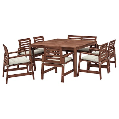 ÄPPLARÖ Table+6 chairs armr+bench, outdoor, brown stained/Kuddarna beige