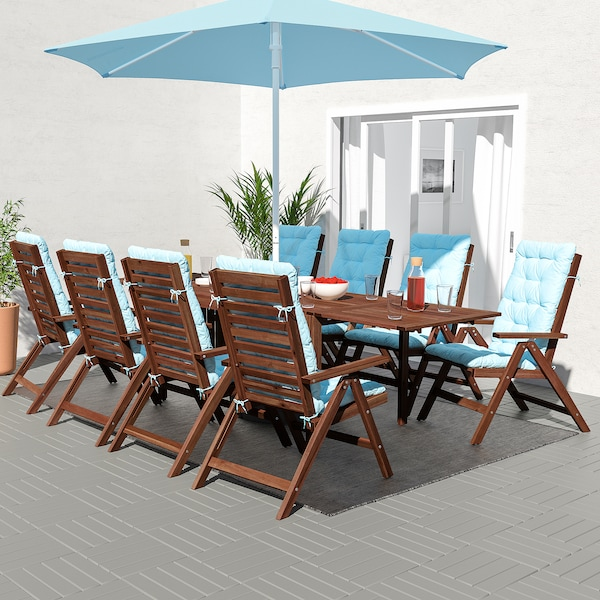 ÄPPLARÖ Table+8 reclining chairs, outdoor, brown stained/Kuddarna light blue
