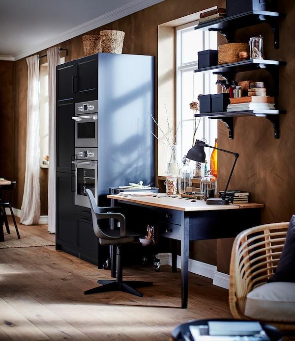 ARKELSTORP desk black 140 cm 70 cm 74 cm 69 cm