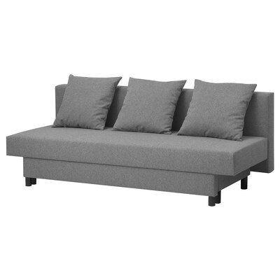 ASARUM Three-seat sofa-bed, grey