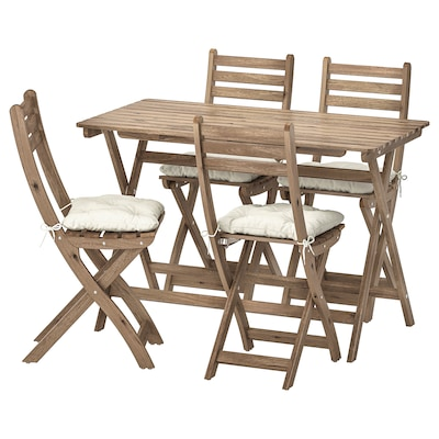 ASKHOLMEN table+4 folding chairs, outdoor grey-brown stained/Kuddarna beige