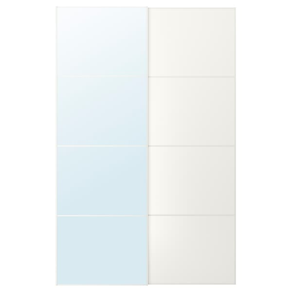 AULI / MEHAMN pair of sliding doors mirror glass/white 150 cm 236 cm 8.0 cm 2.3 cm