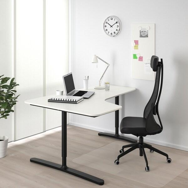 BEKANT corner desk left white/black 160 cm 110 cm 65 cm 85 cm 100 kg