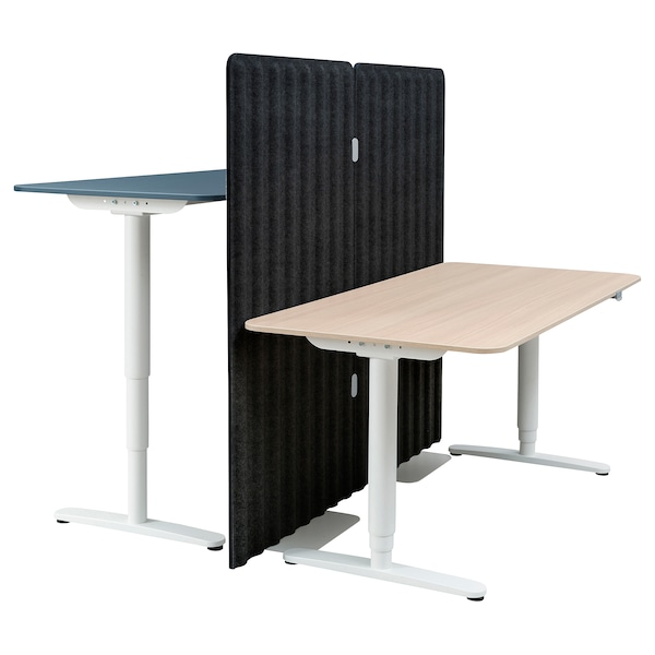 BEKANT Desk sit/stand with screen, linoleum blue/white stained oak veneer, 160x160 150 cm