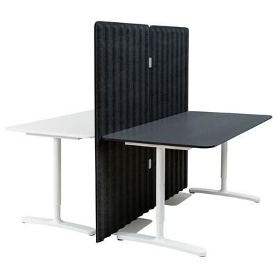 BEKANT Desk with screen, white/black stained ash veneer, 160x160 150 cm
