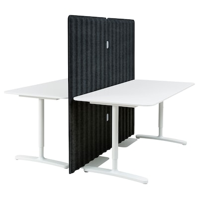 BEKANT Desk with screen, white/dark grey, 160x160 150 cm