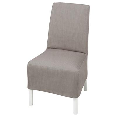 BERGMUND Chair w medium long cover, white/Nolhaga grey/beige