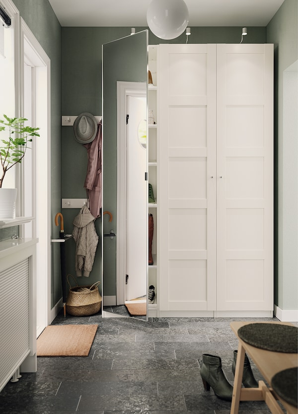 BERGSBO Door with hinges, white, 50x229 cm
