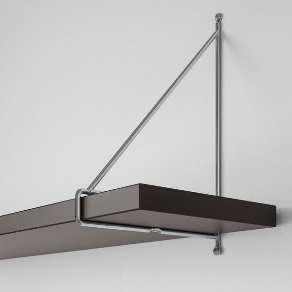 BERGSHULT / PERSHULT Wall shelf, brown-black/chrome-plated, 80x20 cm