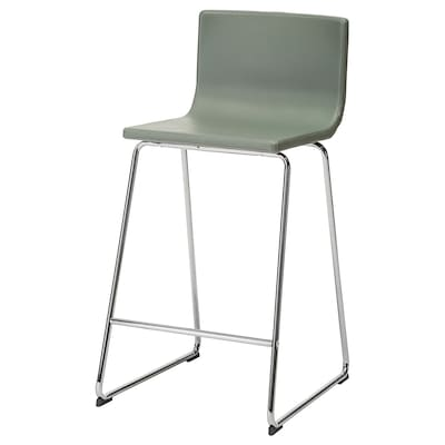 BERNHARD Bar stool with backrest, chrome-plated/Mjuk green, 66 cm