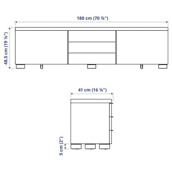 BESTÅ BURS TV bench, high-gloss white, 180x41x49 cm
