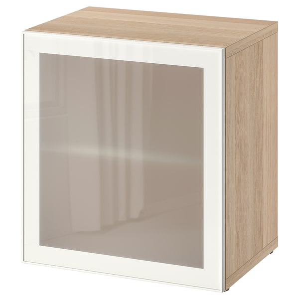 BESTÅ Shelf unit with glass door, white stained oak effect/Glassvik white/frosted glass, 60x42x64 cm