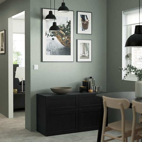 BESTÅ Storage combination w doors/drawers, black-brown/Hanviken black-brown, 120x42x65 cm