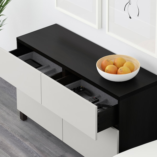 BESTÅ Storage combination w doors/drawers, black-brown/Lappviken light grey, 120x40x74 cm