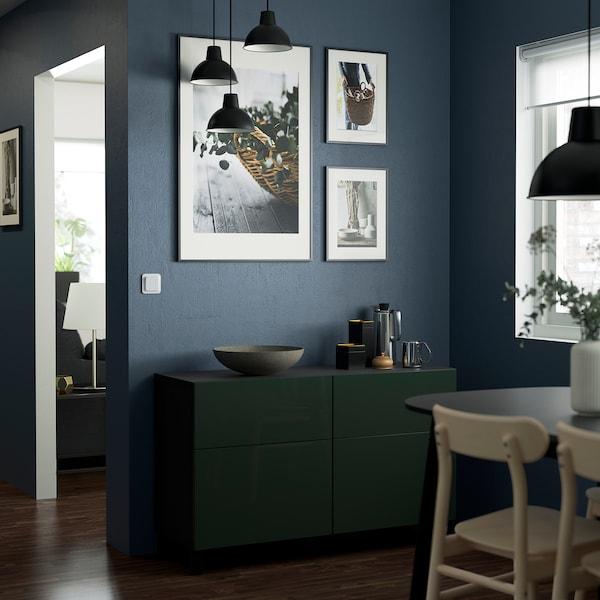 BESTÅ Storage combination w doors/drawers, black-brown Selsviken/Stubbarp/high-gloss dark olive-green, 120x42x74 cm