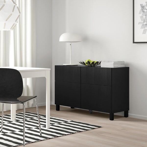 BESTÅ Storage combination w doors/drawers, black-brown/Timmerviken/Stubbarp black, 120x42x74 cm