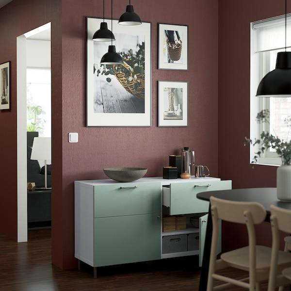 BESTÅ Storage combination w doors/drawers, white/Hjortviken/Ösarp pale grey-green, 120x42x74 cm