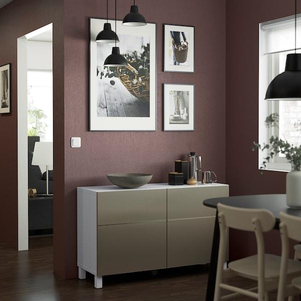 BESTÅ Storage combination w doors/drawers, white/Riksviken/Stubbarp light bronze effect, 120x42x74 cm