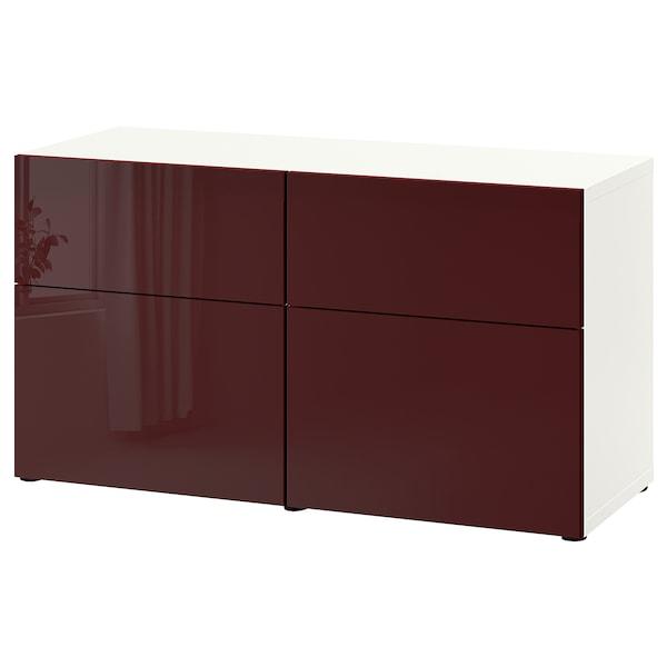 BESTÅ Storage combination w doors/drawers, white Selsviken/high-gloss dark red-brown, 120x42x65 cm