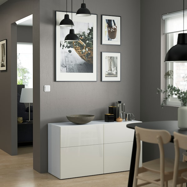 BESTÅ Storage combination w doors/drawers, white/Selsviken high-gloss/white, 120x42x65 cm