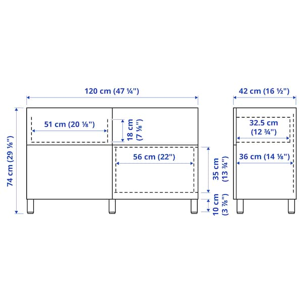 BESTÅ Storage combination w doors/drawers, white Selsviken/Stallarp/high-gloss light grey-blue, 120x42x74 cm