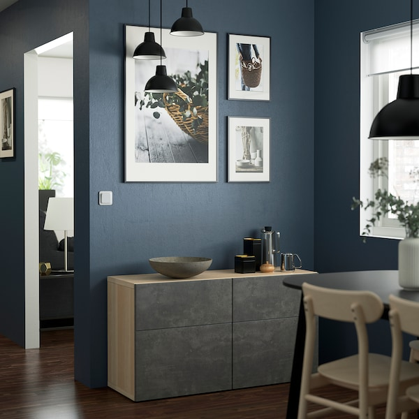 BESTÅ Storage combination w doors/drawers, white stained oak effect Kallviken/dark grey concrete effect, 120x42x65 cm
