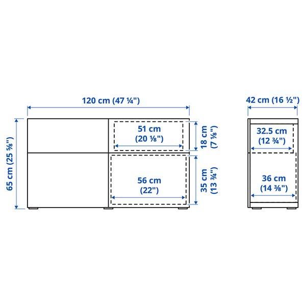 BESTÅ Storage combination w doors/drawers, white stained oak effect/Lappviken white stained oak effect, 120x42x65 cm
