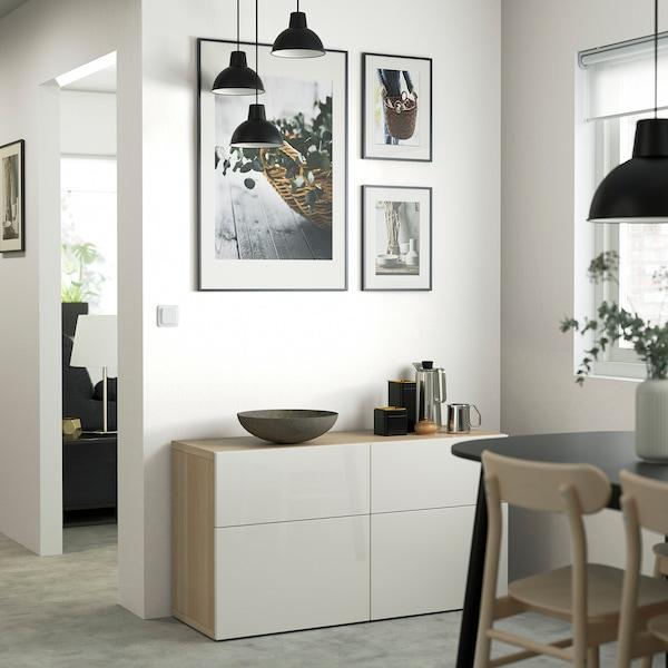 BESTÅ Storage combination w doors/drawers, white stained oak effect/Selsviken high-gloss/white, 120x42x65 cm